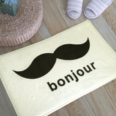 ✭米菈生活館✭【V23】bonjour鬍子圖案地墊(短) 門墊 腳墊 地毯 玄關 浴室 廚房 臥室 客廳 防滑 時尚