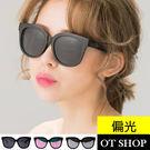 OT SHOP太陽眼鏡.韓風特粗框抗UV400歐美復古方框潮流偏光墨鏡.亮黑/黑反光/粉反光‧N20