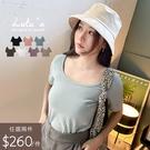 組合【A01200800】兩件520/K自訂款包邊U領短袖上衣7色