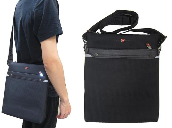 ~雪黛屋~OVER-LAND 肩側包中容量主袋+外袋共五層扁型包設計三層主袋口防水尼龍布+皮革T5361