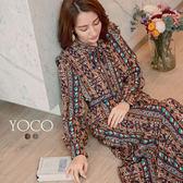 東京著衣【YOCO】復古甜漾滿版印花蝴蝶結綁帶洋裝-S.M.L(172844)