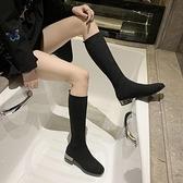 中筒靴女 彈力高筒靴女平底方頭襪子靴中筒連襪靴針織靴子不過膝長靴瘦瘦靴