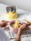 日式卡通泡面碗帶蓋雙耳陶瓷碗碗筷套裝學生可愛大號湯碗宿舍 晴川生活館