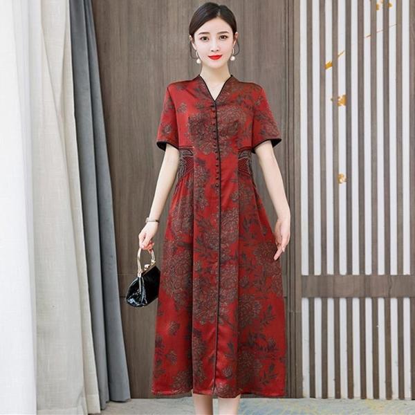 大碼香云紗旗袍改良洋裝女裝2021新款高貴中老年媽媽桑蠶絲裙子 幸福第一站