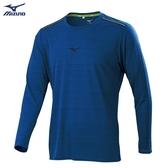 MIZUNO 男裝 長袖 T恤 慢跑 路跑 吸汗快乾 胸前反光燙印 後領反光圈 深藍【運動世界】J2TA053116