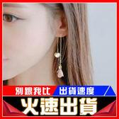 [24H 現貨快出] 耳環 韓版 新款 耳墜 長款 吊墜 簡約 流蘇 珍珠 花朵 耳釘 優雅 女款 耳線 復古