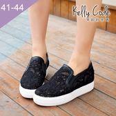 大尺碼女鞋-凱莉密碼-休閒時尚夏日透氣蕾絲網布厚底樂福鞋3cm(41-44)【XTB13】黑色