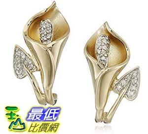 [美國直購] 10K Gold Calla Lily Diamond Earrings (1/10 cttw, I-J Color, I2-I3 Clarity) 耳環