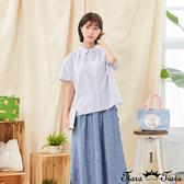 【Tiara Tiara】百貨同步新品aw全  直條紋小立領襯衫(粉杏/藍/灰)