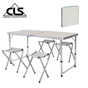 【韓國CLS】可調桌腳鋁合金折疊一桌四椅組/折疊箱型桌(兩色任選)白色