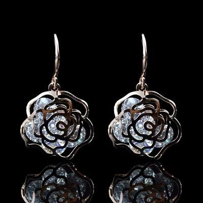 耳環 玫瑰金純銀 鑲鑽-鏤空玫瑰花生日情人節禮物女飾品73hz49【時尚巴黎】