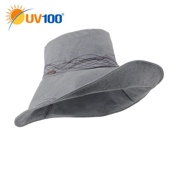 UV100 防曬 抗UV-氣質繡花塑型遮陽帽-女