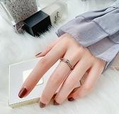 韓京會動的戒指女ins網紅時尚鈦鋼食指環個性鑲鑚輕奢可轉動戒子「免運:享八五折優惠」