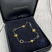 BRAND楓月 TIFFANY&CO. 蒂芬妮 K18 愛心手鍊 拚色 黃金 白金 鏤空 配飾 配件 飾品 7.9G