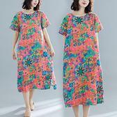 洋裝 連身裙 民族風 中大尺碼  女夏裝新款短袖印花復古文藝mm寬鬆棉麻中長款連衣裙