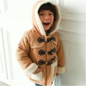 牛角釦厚連帽外套 學院風 保暖外套 厚外套 男童 女童 兒童外套 寶寶外套 超厚 防寒 外套 50445