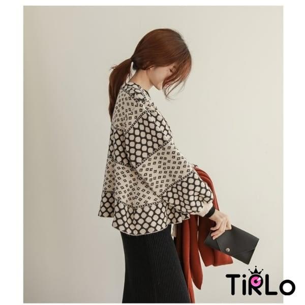 針織外套-Tirlo-幾何圖案燈籠袖開襟針織外套-兩色(現+追加預計5-7工作天出貨)