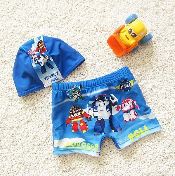 男Baby男童波力泳裝套裝-含泳褲泳帽現貨-韓版
