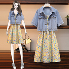 L-4XL胖妹妹大碼牛仔洋裝~大碼女裝胖mm加肥加大時尚減齡花色吊帶裙 牛仔外套兩件套3F099愛尚布衣