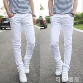男士春夏季白色牛仔褲男款青年修身中腰直筒寬鬆純白色休閒長褲子  可然精品鞋櫃