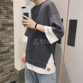 七分袖T恤 韓版寬鬆短袖t恤男七分袖中袖上衣加肥加大學生 俏女孩