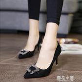 歐美春季尖頭細跟女鞋中跟單鞋水鑽方扣高跟鞋紅色婚鞋黑色工作鞋『櫻花小屋』