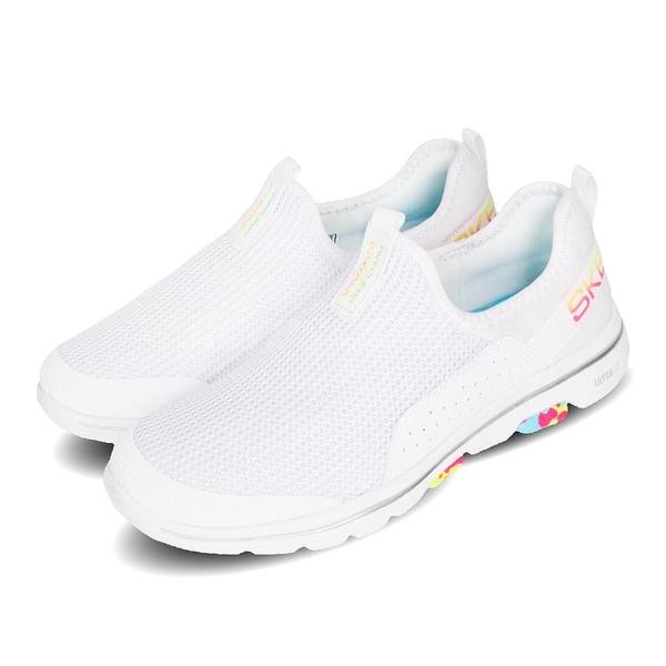 Skechers 休閒鞋 Go Walk 5-Parade 白 彩色 套入式 懶人鞋 女鞋 【ACS】 124034WMLT
