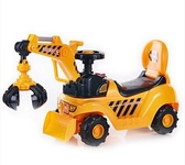設計師美術精品館祺月挖掘機可坐可騎大號挖土機玩具兒童音樂學步車腳踏四輪工程車