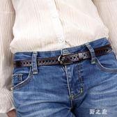 皮帶女士牛皮復古鏤空簡約百搭韓版腰帶女細皮質時尚裝飾褲帶潮流 KB6714【野之旅】