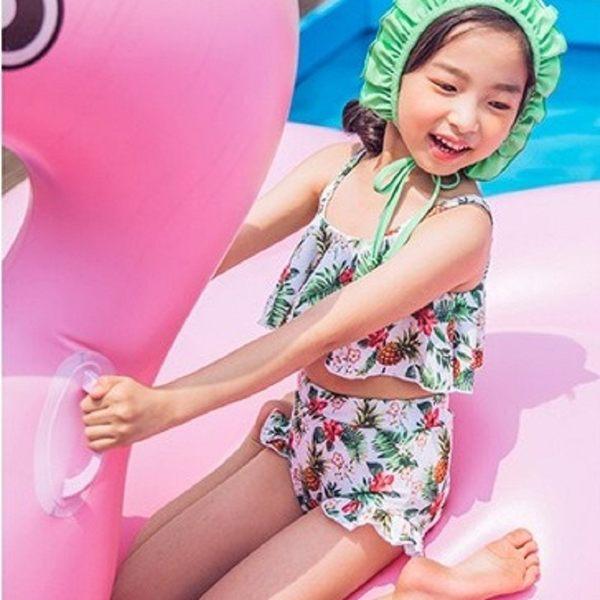 梨卡 - 兒童中童泳裝泳衣可愛水果派對兒童款幼童俏皮荷葉邊兩件式CR438