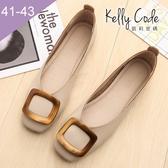 大尺碼女鞋-凱莉密碼-超柔軟淺口方扣奶奶鞋1cm(41-43)【ELN2-60】杏色