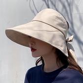漁夫帽 日本UV防曬帽子女韓版百搭遮臉大檐網紅漁夫帽防紫外線遮陽空頂帽 歐歐