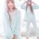 秋冬睡衣 頂級壓花絨超細緻玫瑰蕾絲兩件式睡衣+睡褲(藍綠)-保暖、居家服_蜜桃洋房