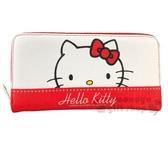 〔小禮堂〕Hello Kitty 皮質拉鍊長夾《紅白.大臉》皮包.皮夾.錢包 4710810-64711