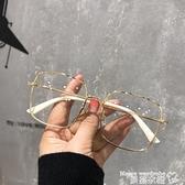 眼鏡框 眼鏡框架女韓版潮可配有復古金屬水鉆邊方框顯瘦素顏眼睛 新品