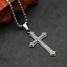 鈦鋼簡約鋯石十字架(附3mm*60公分鈦鋼鏈)