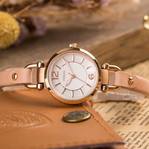 FOSSIL Georgia 金典粉沙皮革細腕錶 ES3745 熱賣中!