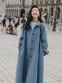 毛呢大衣 秋冬新款霧霾藍寬鬆氣質過膝外套女中長款 小天後
