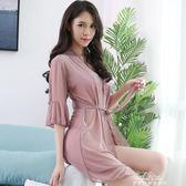 情調衣人性感睡衣外套女繫帶睡袍開衫蕾絲透明薄浴袍中長款浴衣 最低價促銷