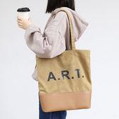 帆布袋 撞色 字母 手提包 方包 帆布包 單肩包 環保購物袋--手提包/單肩包【AL446】 icoca  04/25