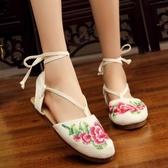 春夏新款老北京布鞋女 鏤空繡花涼鞋平底中國風單鞋民族風女鞋