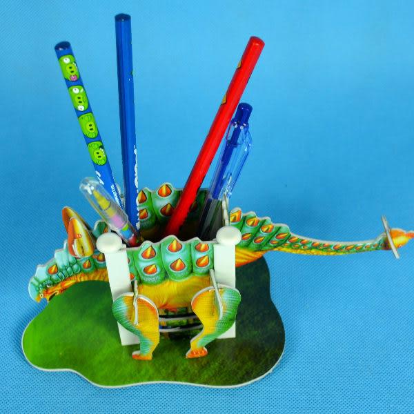 佳廷模型 親子DIY紙模型3D立體拼圖贈品獎勵品專賣店 昆蟲館動物園 恐龍筆筒4 甲龍 Calebou卡樂保