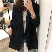 西裝外套 春秋韓版chic黑色小西裝中長款職業寬鬆休閒西服上衣外套女潮 唯伊時尚