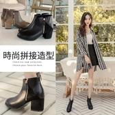 Ann'S丹麥時尚-幾何拼接絨布粗跟短靴-黑