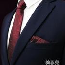 領帶領結 禮服3件套酒紅領帶男正裝商務休閒韓版結婚新郎領結方巾領結禮盒 韓菲兒