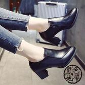 新款高跟鞋中跟單鞋鞋子女秋粗跟 百搭女鞋英倫小皮鞋潮【黑色地帶】