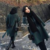 毛呢大衣  雙面羊絨大衣女中長款韓版寬鬆繫帶毛呢外套igo 『伊莎公主』