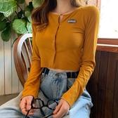 針織衫 春裝韓版復古圓領單排扣長袖針織開衫百搭修身短款露臍T恤女上衣 裝飾界 免運