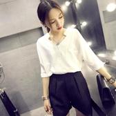 V領襯衫女短袖2018夏季新款韓版寬鬆百搭雪紡上衣蝙蝠袖白色襯衣