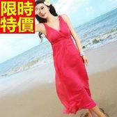 長洋裝-波希米亞風純色V領真絲渡假沙灘連身裙3色65af41[巴黎精品]
